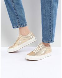 f312b6dc630eca Lyst - Converse Embroidered One Star Sneakers In Green in Green