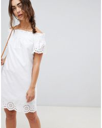 Warehouse - Broderie Anglais Ruched Dress - Lyst