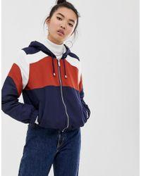 New Look - Fleece Lined Zip Up Jacket In Rust And Navy - Lyst