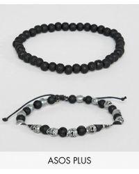 ASOS - Design Plus Beaded Bracelet 2 Pack With Skulls In Burnished Silver - Lyst