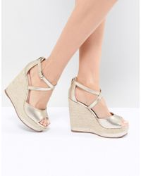 Dune - Espadrille Wedge In Gold - Lyst