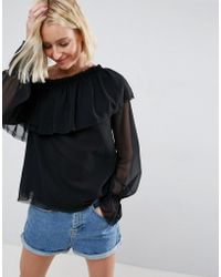 a38468054e0c ASOS - Asos One Shoulder Blouse With Ruffle - Lyst