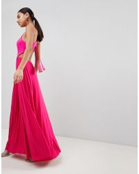 ASOS - Scuba Top Tassel Back Pleated Maxi Dress - Lyst