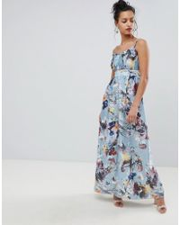 Little Mistress - Maxi Dress In Floral Print - Lyst