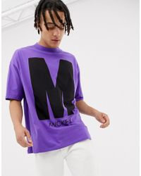 Bershka - Mickey Mouse Oversized T-shirt In Purple With Front And Back Print - Lyst