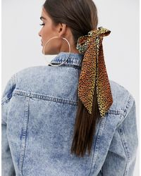 ASOS Bow Hair Scarf In Animal Print - Multicolour