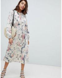 Warehouse - Vintage Floral Print Midi Dress - Lyst
