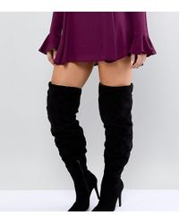 New Look - Thigh High Heeled Boot - Lyst