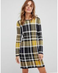 Warehouse   Oversized Check Jumper Dress   Lyst
