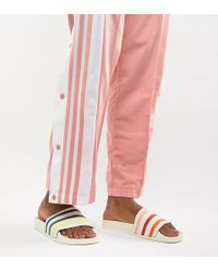 adidas Originals - Adidas Pride Adilette Slider Sandals In White - Lyst