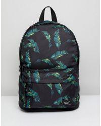 ASOS - Backpack Black With Leaf Print Design - Lyst