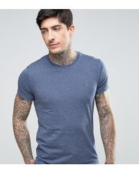 Farah - Twisted Yarn Marl T-shirt Exclusive In Navy - Lyst
