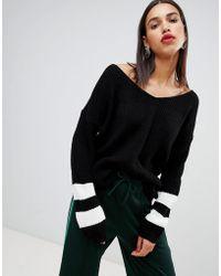 Boohoo - V Neck Contrast Stripe Jumper In Black - Lyst