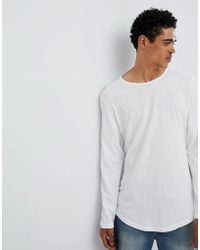 Esprit - Longline Longsleeve T-shirt With Curved Hem In White - Lyst