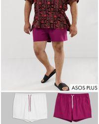 ASOS - Plus Swim Shorts In Purple & White Short Length Save - Lyst