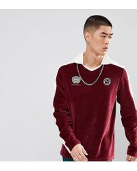 PUMA - Velvet Football Polo Shirt In Burgundy Exclusive To Asos - Lyst