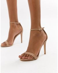 4f0042e2155 Steve Madden Stecy Metallic Pink Barely There Heeled Sandals in Pink ...
