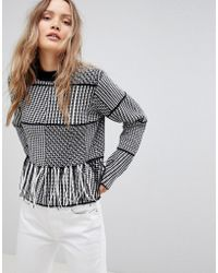 Lavand - Patchwork Sweater With Fringe Hem - Lyst