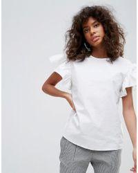 Minimum - Ruffle Sleeve Top - Lyst