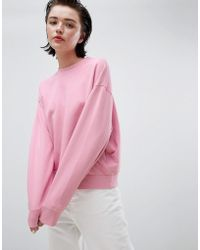 Weekday - Cropped Sweatshirt In Pink - Lyst