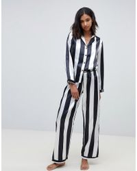 Wolf & Whistle - Stripe Print Long Pyjama Set - Lyst
