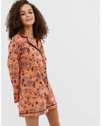 ASOS - Organic Cotton Cactus Pyjama Shirt And Short Set - Lyst