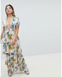 Missguided - Plunge Tiered Maxi Dress - Lyst