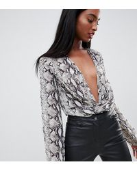 Missguided - Plunge Body In Snake Print - Lyst