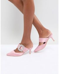 True Decadence - Pointed Heeled Mule With Diamante Buckle - Lyst