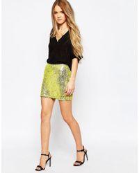 Millie Mackintosh - Yellow Sequin Mini Skirt - Lyst