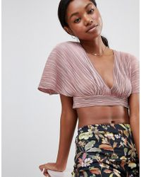 Love - Pleated Kimono Sleeve Tie Back Crop Top - Lyst