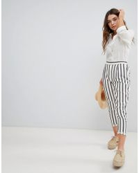 New Look - Stripe Tapered Trousers - Lyst