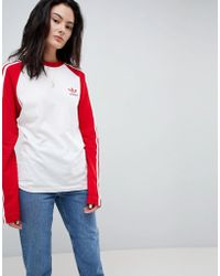 adidas Originals - Adicolor Three Stripe Raglan Top In Red - Lyst