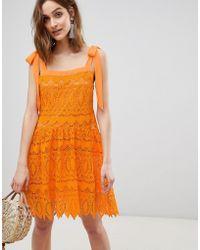 231951722b Vero Moda - Vera Moda All Over Lace Cami Mini Dress With Tie Straps In  Orange