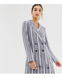 NA-KD - Stripe Double Breasted Co-ord Blazer In Blue - Lyst