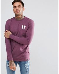 11 Degrees - Muscle Long Sleeve T-shirt In Purple - Lyst