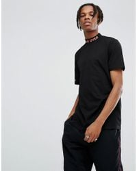 ASOS - Longline T-shirt With Printed Turtle Neck - Lyst