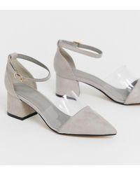 5b4bfcdf4cf0 Dune Clarity Patent Transparent Block Heel Court Shoes - Lyst