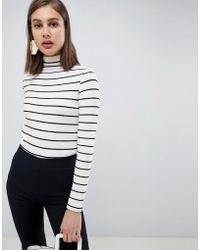 Mango - Striped High Neck Long Sleeve Top - Lyst