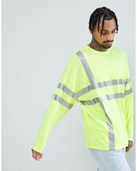 ASOS DESIGN - Oversized Long Sleeve T-shirt In Neon Yellow With Reflective Grid Print - Lyst