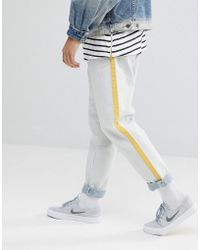 ASOS - Asos Recycled Double Pleat Jeans In Ecru With Side Stripe - Lyst