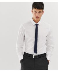 f3405edf079fb ASOS - Slim Work Shirt In White With Navy Tie   Pocket Square Pack Save -