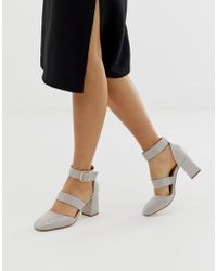 London Rebel - Square Toe Block Heels - Lyst