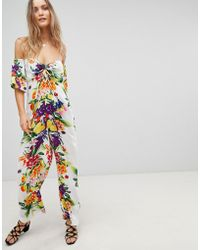 ASOS - Bright Fruity Beach Jumpsuit With Long Sleeve - Lyst
