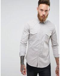 ASOS - Skinny Western Denim Shirt In Light Gray - Lyst