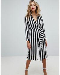Missguided - Wrap Front Stripe Jumpsuit - Lyst