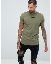 Religion - Muscle Fit T-shirt With Curved Hem In Khaki - Lyst