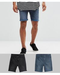 ASOS - 2 Pack Skinny Denim Shorts With Abrasions In Washed Black And Smokey Blue - Lyst