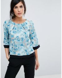 Closet - 3/4 Printed Sleeve Top With Contrast Piping - Lyst