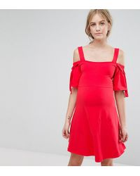 ASOS - Bow Sleeve Cold Shoulder Dress With D Rings - Lyst
